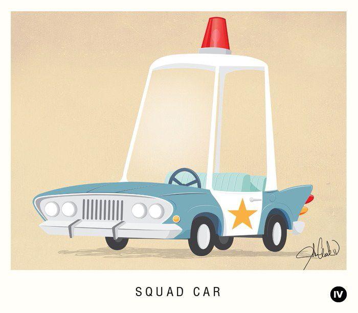 squad car illustration- old timey looking illustrations