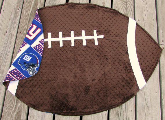 Football Blanket NY Giants Minky NFL Nursery by LovePitterPatter