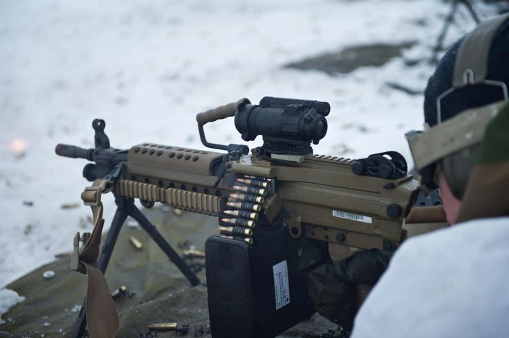 Norwegian Army soldier with the newly issued Minimi 5.56 mm light machine gun