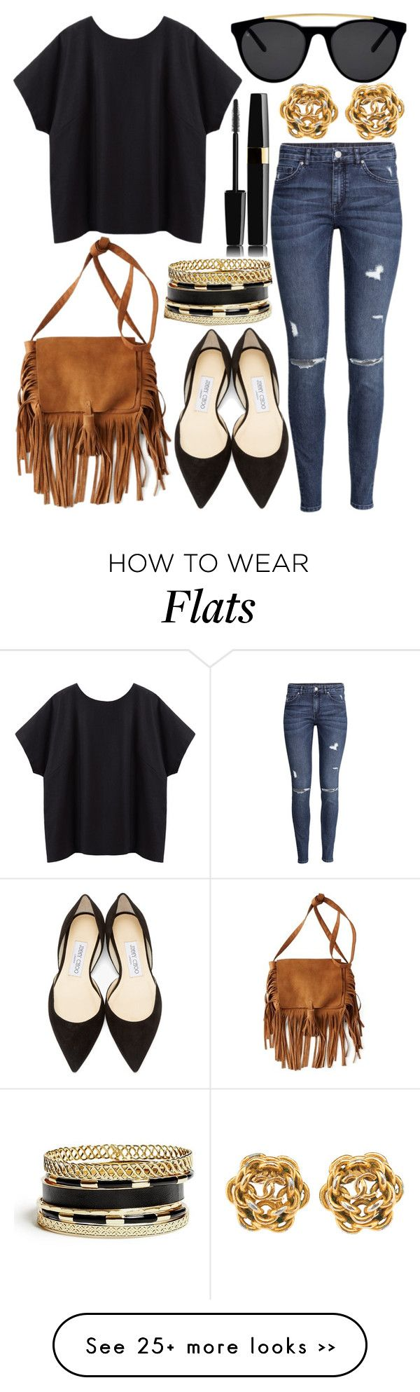 """Untitled #545"" by daimy-style on Polyvore featuring moda, La Garçonne Moderne, H&M, American Eagle Outfitters, Smoke & Mirrors, Jimmy Choo y GUESS"
