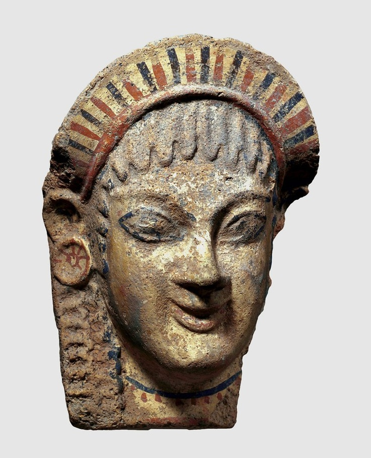 Etruscan temple decoration.  Judging from the subtle 'archaic smile' and the shape of the eyes, the antefix can be dated to the second half of the sixth century B.C.