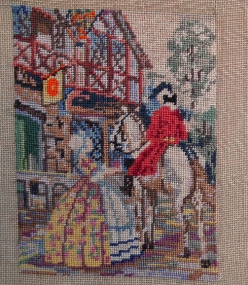 Vintage Needlepoint Tapestry Picture 30s 40s Small Completed Panel Salvaged 1930s 1940s English Scene Eighteenth Century Lady Coaching Inn