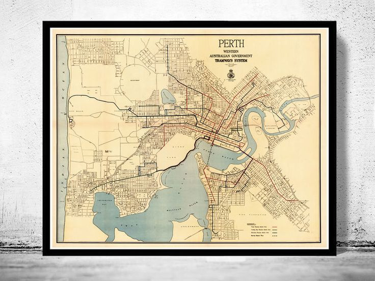 Vintage map of Perth Western Australia - product images of