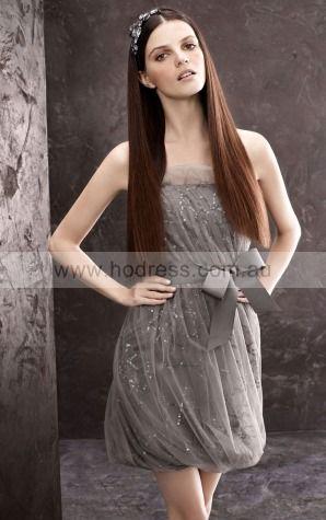 Tulle Strapless Natural Sheath Short Bridesmaid Dresses 0740584--Hodress