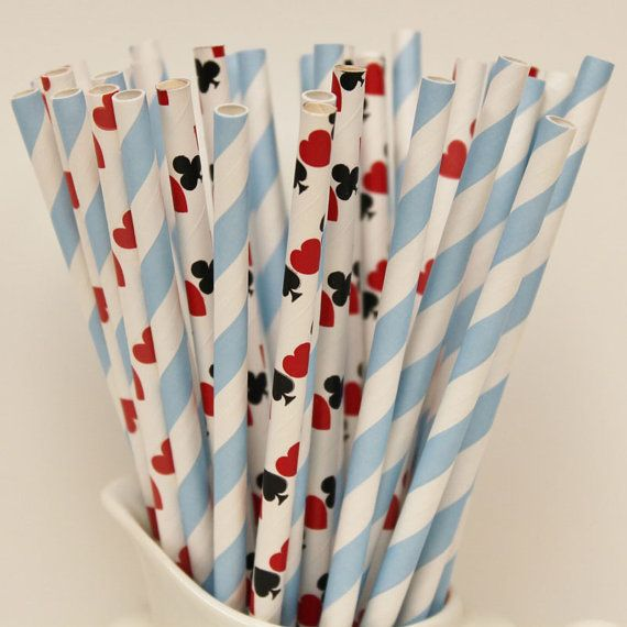 Paper Straws, 25 Alice In Wonderland Paper Straws, Paper Drinking Straws, Themed Party, Mad Hatter, Queen of Hearts, Princess, Tea Party