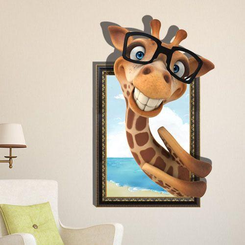 Trouver plus Autocollants muraux Informations sur Livraison gratuite belle girafe 3D Art stickers muraux / stickers muraux PVC amovible ou de votre maison ou votre bureau 58 * 91 cm, de haute qualité ongles autocollant, Autocollant. winnie Chine Fournisseurs, pas cher distributeurs vignette de Stephen's Online Store sur Aliexpress.com