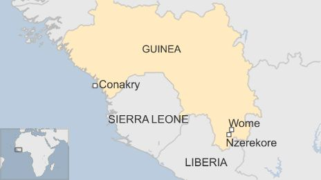 Map of Guinea showing the capital Conakry and the southern city of Nzerekore - 18 September 2014