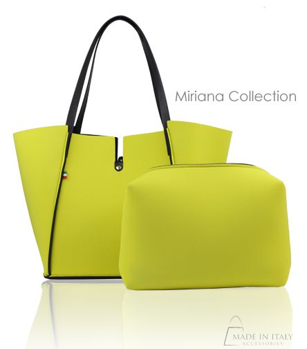 Miriana Collection | Neoprene Reversible Tote Bag in Yellow/black | Made in Italy Accessories https://madeinitalyaccessories.com/miriana-neoprene-tote-bags