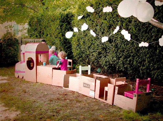"Train made out of boxes use paper tickets and a hole punch to ""punch"" them out! My daughter's teacher did this in preschool & the kids LOVED it!"