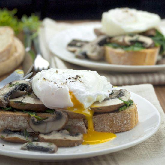 Mushrooms on toast with wilted baby spinach and poached eggs. Perfect ...