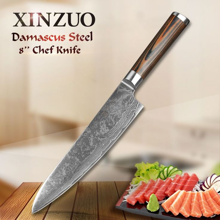 "XINZUO 8"" chef knives high quality fashion Japanese VG10 Damascus stainless steel kitchen knife pakka wood handle Free shipping"