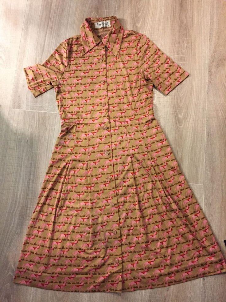 Ken Scott Vintage Jersey Horse Print Dress S #KenScott