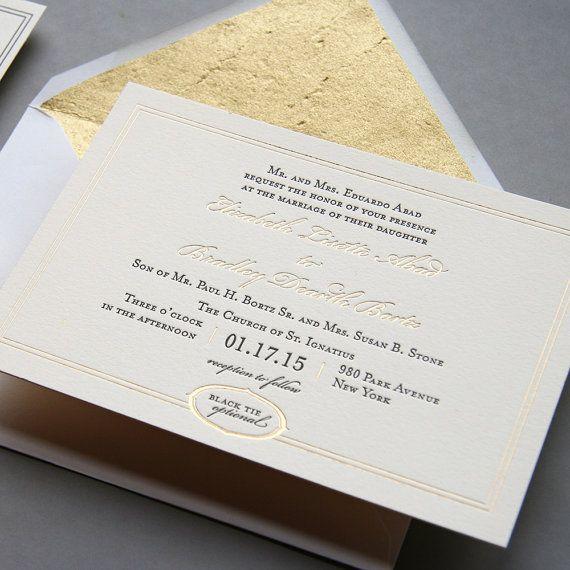 Buchdruck und Blattgold Hochzeitseinladung von SteelPetalPress
