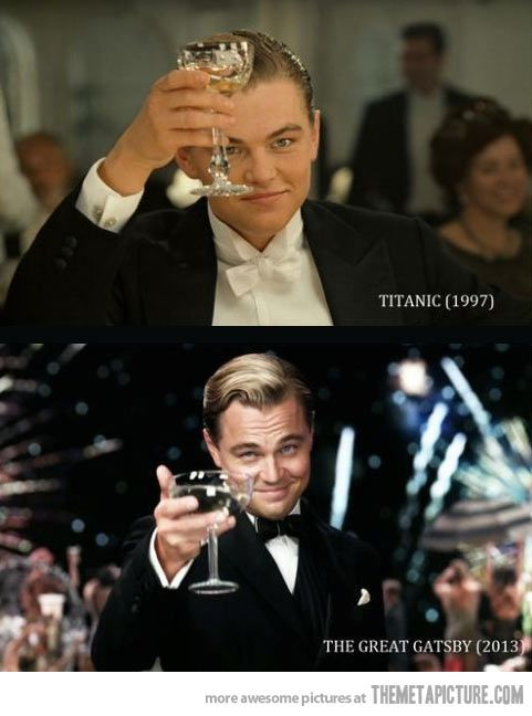 """Another pinner....Jack Dawson """"died"""" in 1912, while in his early 20's. Maybe he didn't die, maybe he just passed out and found his way to new York, changed his name to Jay Gatsby and became an eccentric millionaire. Maybe his stories of Daisy are just him remembering Rose. Gatsby was 32 in 1922. This is all a little too coincidental for me..."""