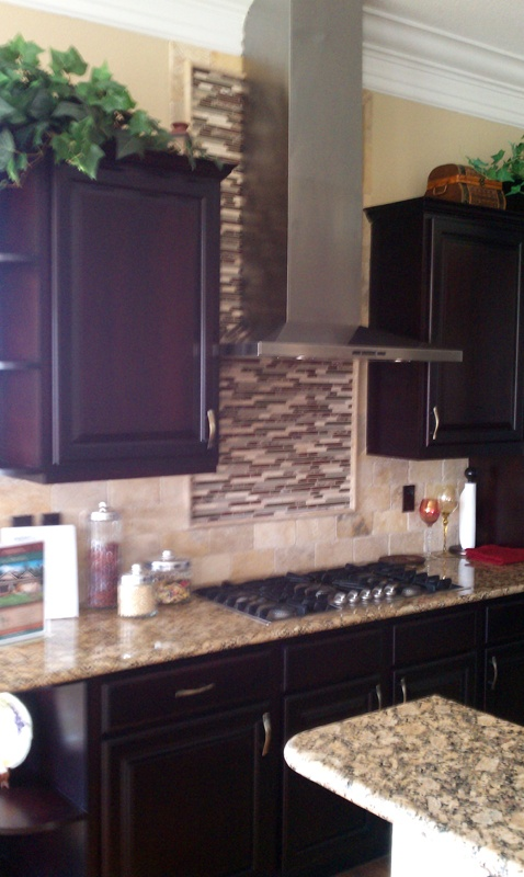 The Hunter Kitchen Countertops   Fiorito Granite With Tumbled Travertine  And Glass Tile   Project
