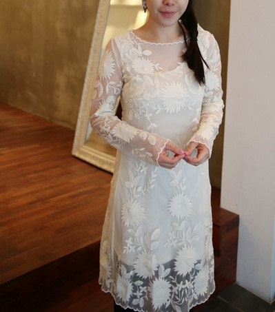 Vintage inspired Bohemian embroidered lace wedding dress Wedding guest dress Simple wedding dress. $98.00, via Etsy.