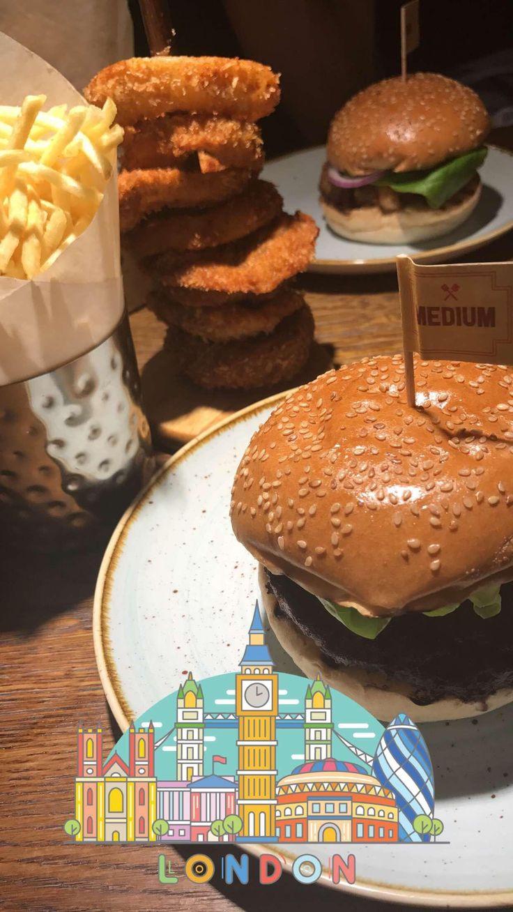 Gourmet beefburger with skinny fries onion rings and an Oreo milkshake [I ate]