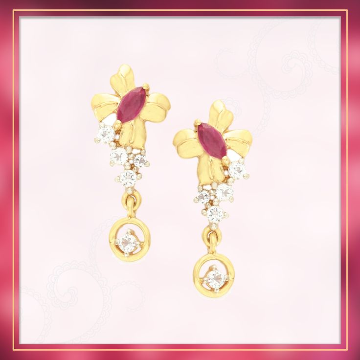 A glorious Earring made of 9k Hallmark Yellow Gold featuring Ruby from Thailand with White Topaz   Shipping across India