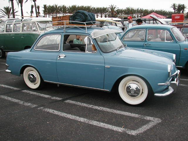 Saw a car like this luggage rack and all last night.  Volkswagen 1500 ... quite the dream car.