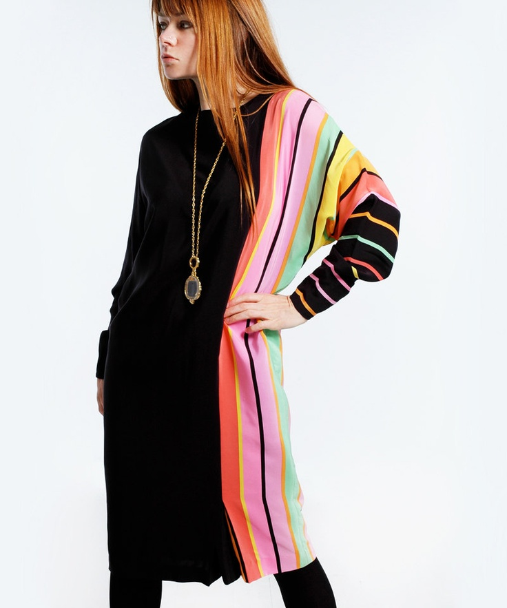 ..1980s Anne Crimmins for Umi midi dress. 100% silk and fully lined..