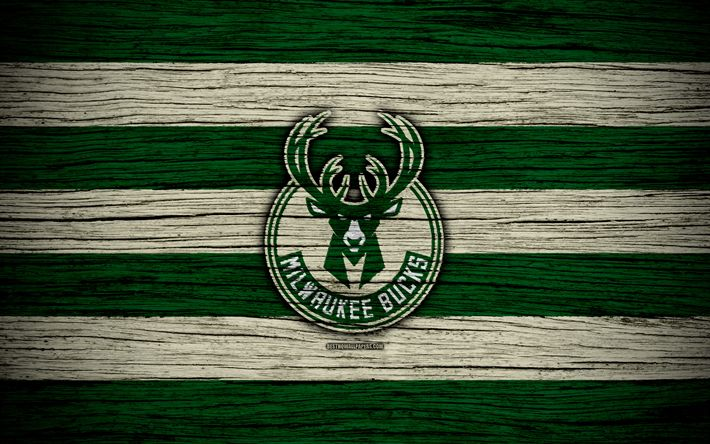Download wallpapers 4k, Milwaukee Bucks, NBA, wooden texture, basketball, Eastern Conference, USA, emblem, basketball club, Milwaukee Bucks logo