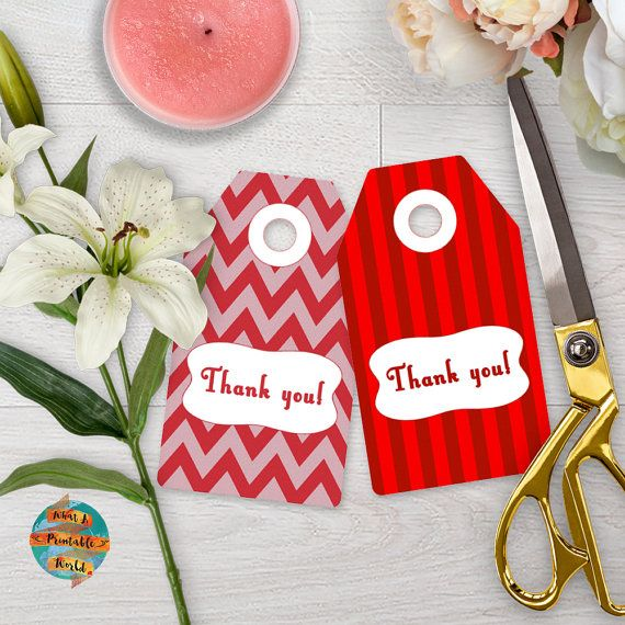 Thank You Tag red stripes and chevron gift anniversary