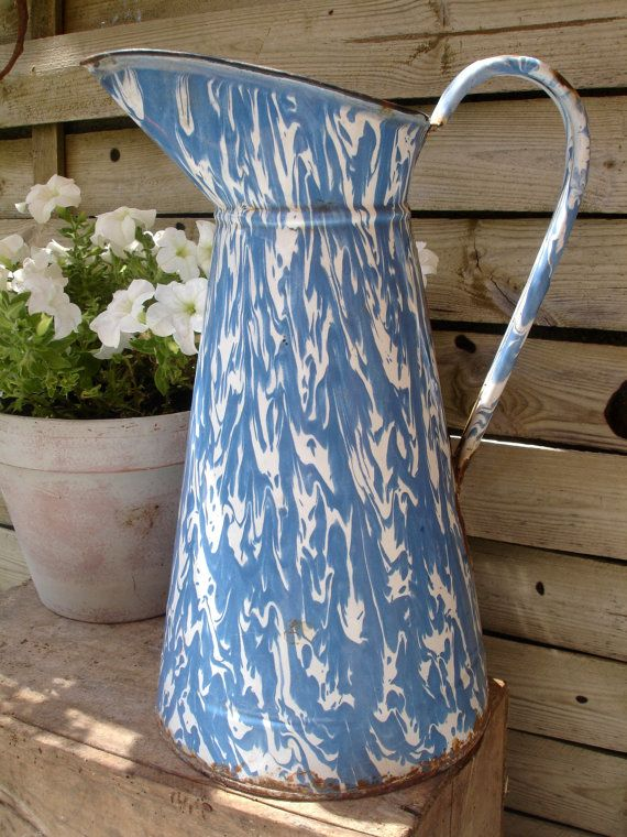 French vintage enamel blue & white swirl water pitcher, broc, jug, French enamelware, 1930s