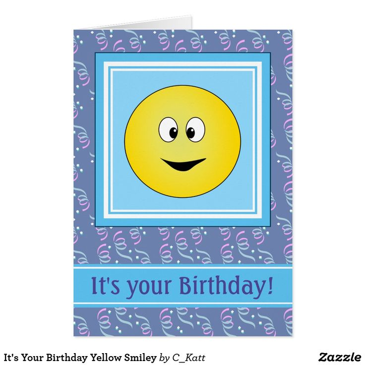 "It's Your Birthday Yellow Smiley Card Fun birthday card with a round yellow smiley face with funny crossed eyes. He is inside a blue and white square and below him is a blue and white strip. Inside the strip is a template reading ""It's Your Birthday!"" this can be used as it is or use the template to alter the text to your own. The background is a dark blue covered in colourful confetti. On the back of the card is the same smiley face and the designers name."