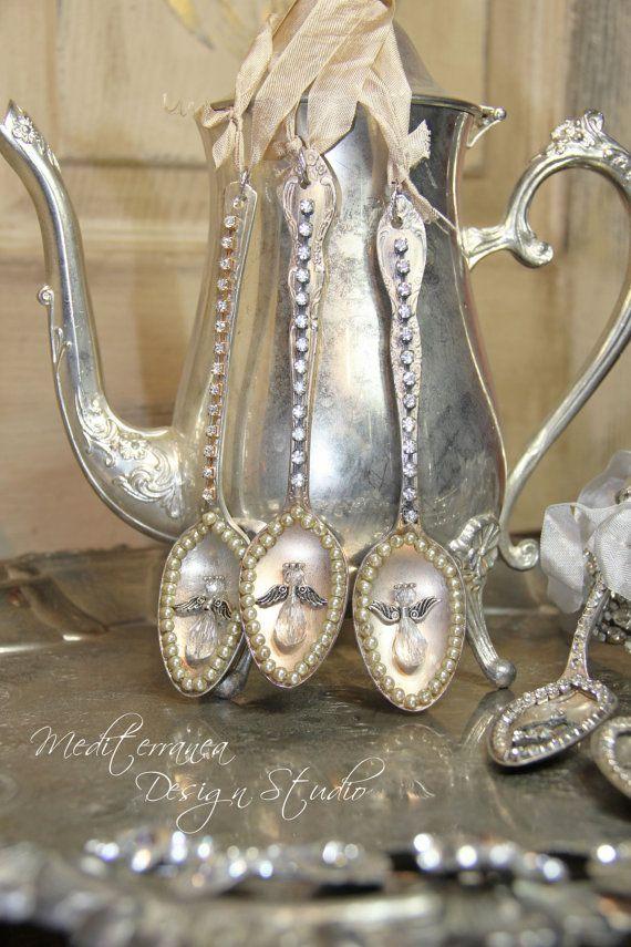 Angel ornaments, silver spoon, spoon ornament, Mediterranea Design Studio, tarnished silver, christmas ornament, vintage Christmas ornament