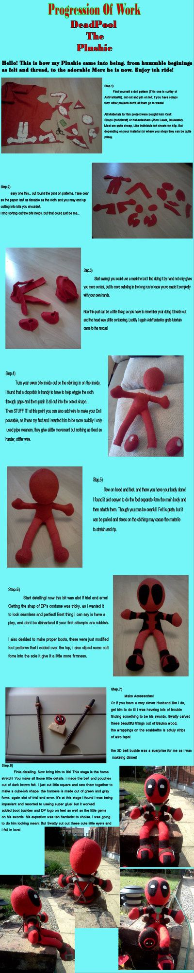 Deadpool Plush Progression by *Nerual-Saylar on deviantART (Cute but I'll be making mine a different way)