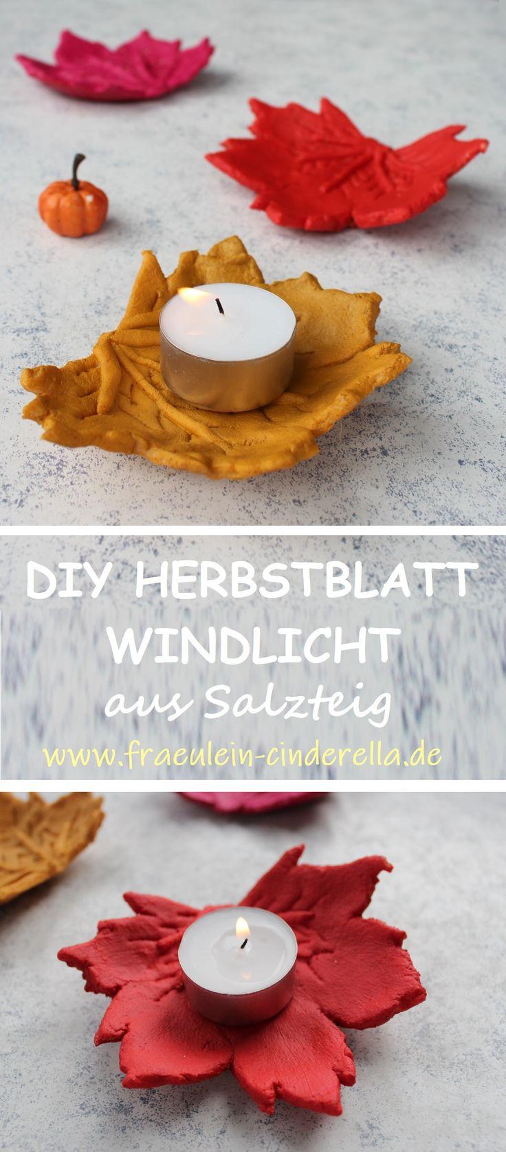 DIY: Herbstblatt-Windlicht aus Salzteig Kreative DIY-Idee oder Geschenk Ideen : Herbst-Windlicht