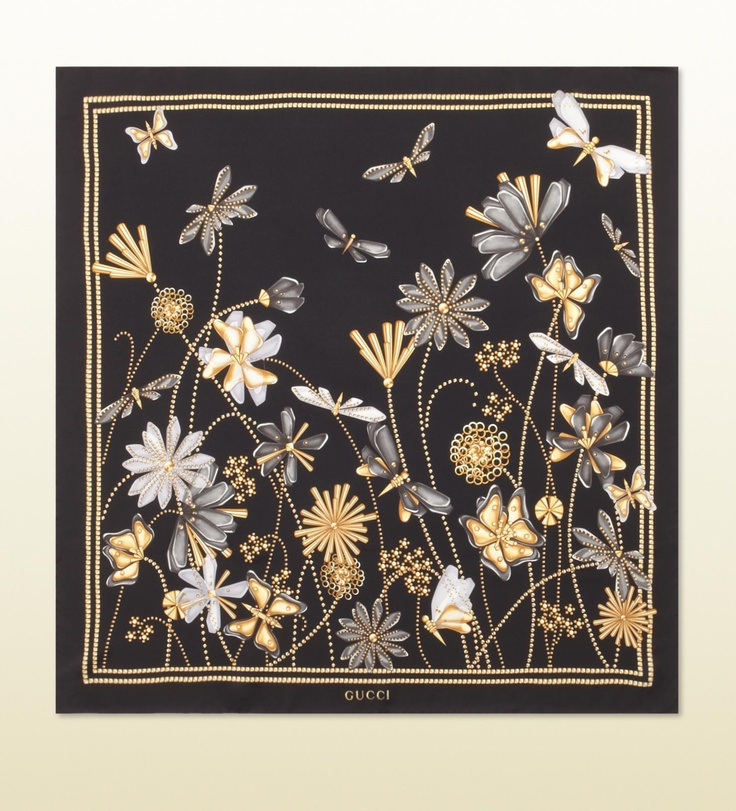 Gucci - butterfly and flower print scarf