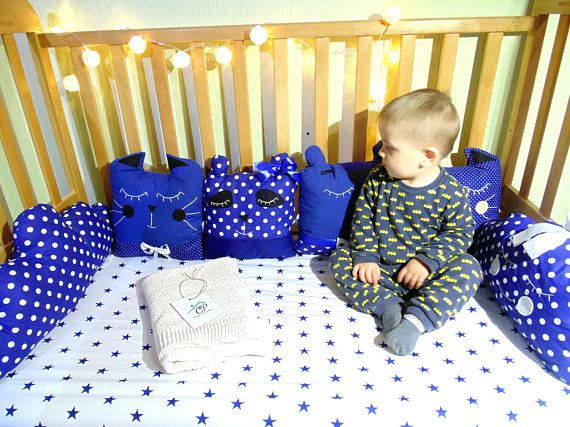 Blue and white crib bedding Custom  baby bedding  Baby boy