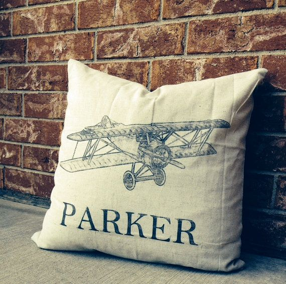 PERSONALIZED Pillow, Name Pillow, Custom Pillow, Airplane Pillow, Baby Shower Gift, Vintage Airplane Decor on Etsy, $21.00