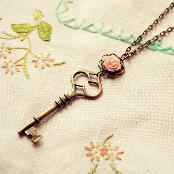 Key Necklace with Delicate Pink Rose by Dear Delilah