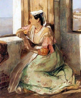 """A Lady Gazing over the Bay of Naples"" by John Frederick Lewis (1804-1876)"