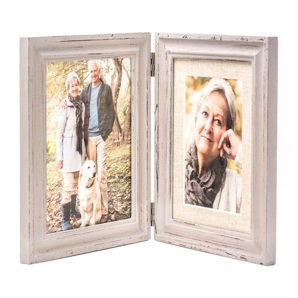 Amazon.com - Double Folding 6x8 LightGray Wood Picture Frame with... ($17) ❤ liked on Polyvore featuring home, home decor, frames, folding picture frames, wooden frames, 4x6 frames, wood frames and wooden picture frames