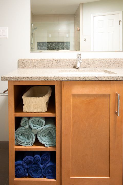 image of master bathroom vanity with open storage this vanity with storage is on our