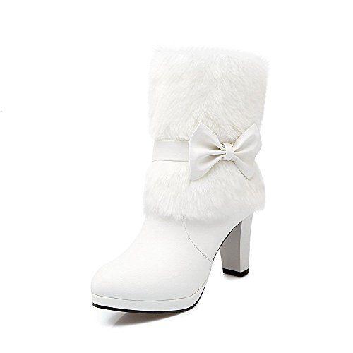 AgooLar Damen Ziehen Auf Hoher Absatz Pu Leder Mitte-Spitze Stiefel mit Schleife: Amazon.de: Schuhe & Handtaschen