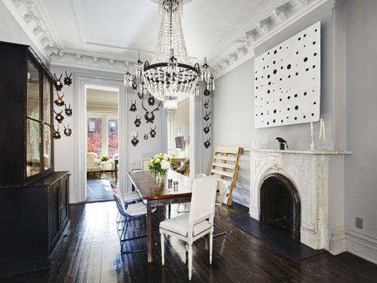 .Dining Rooms, Floors, J Crew, Antlers, Grey Wall, Diningroom, Gray Wall, Brooklyn, Jenna Lion
