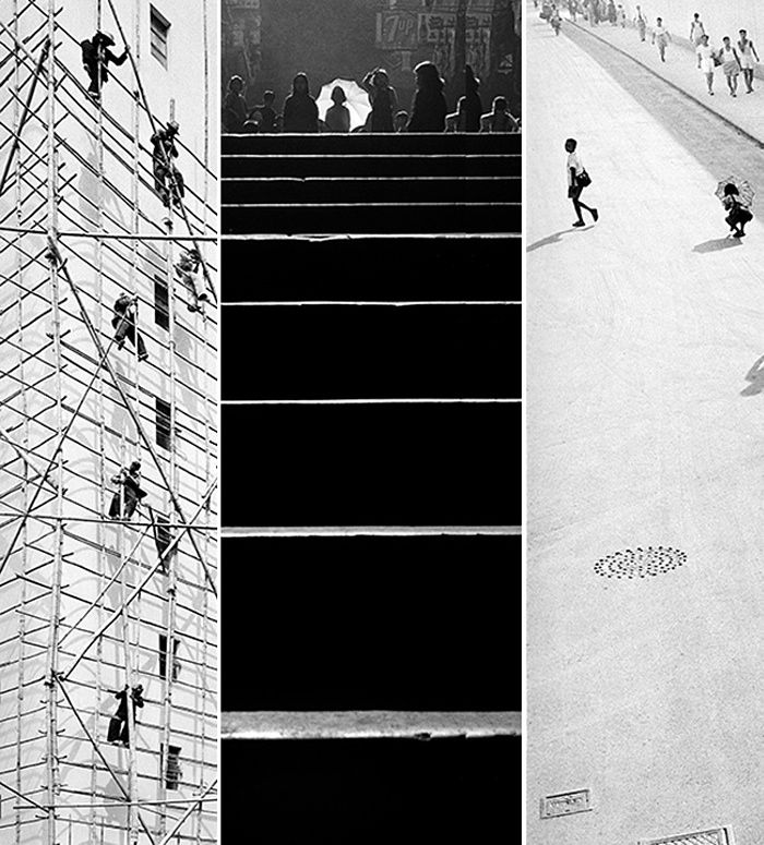 A composite of Working Skywards, Steps, and School is over. Photographs: Fan Ho/Modernbook Gallery/AO Vertical Art Space