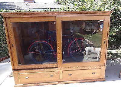 Antique Oak Display Case 8ft 1890 S 1900 S Cabinet Large