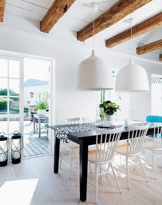 Danish summer house. Love the white and wood beams. All of it, actually.