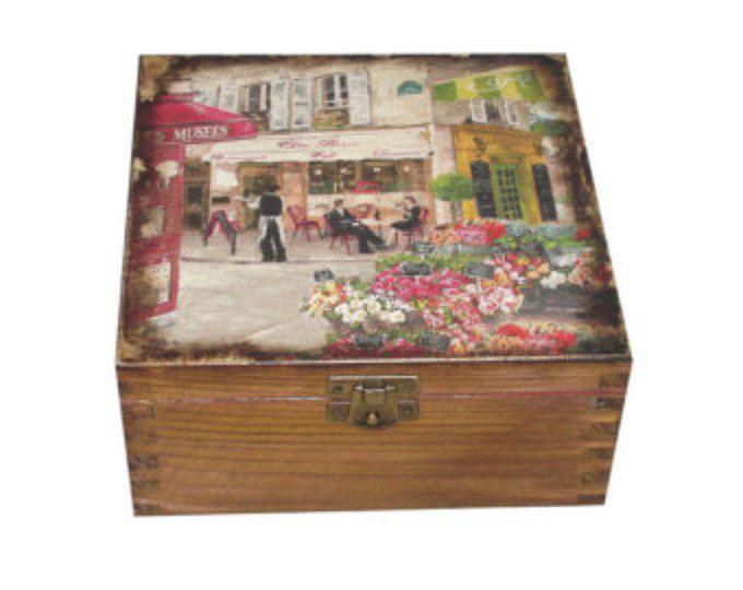 Caja de té madera. Caja de almacenamiento del té. Caja del bolso de té. Almacenamiento de información de bolsa de té. Decoupage. Estilo vintage.