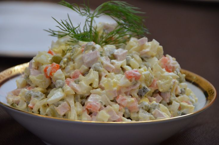 This salad is very famous in Russian/Ukrainian culture. It's a must on the New Year table.As always there is different variations of this salad,every family has their own recipe.It consist of diced potatoes,carrots,eggs, bologna, pickles and peas that's usually combined with mayonnaise. You can also substitute bologna for cooked chicken meat or beef,fresh cucumbers instead …