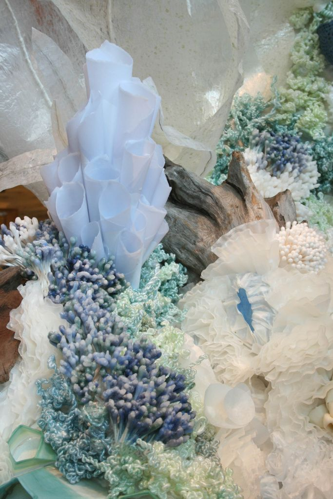 Anthropologie Coral Reef Window Display/ Coral reef window for Earth Day made from paper,wax,plastic,coffee filters,q-tips,spoons and wax paper.