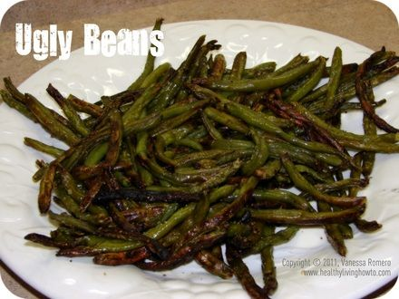 Easy roasted green beans! One pound is 60 calories less than a McDonalds small fry.