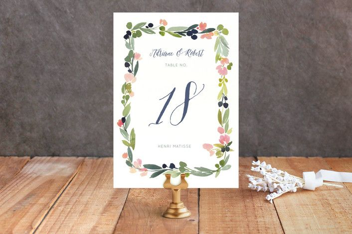 Watercolor Wreath Wedding Table Numbers by Yao Cheng at minted.com