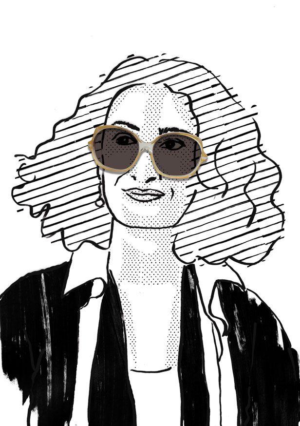 Federica, illustration by Julia Kaiser. #eyewearportraitproject #faces #portrait #drawing #illustration #fashion #eyewear #glasses #shades #frames #vintage #shadow #blackandwhite #fashionillustration #studiojuliakaiser #eyewearvintage