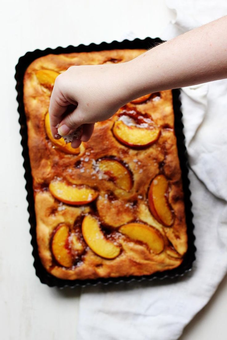 Salty Vanilla & Peach Focaccia Recipe - tingle your tastebuds with this sweet & slightly salty recipe...x